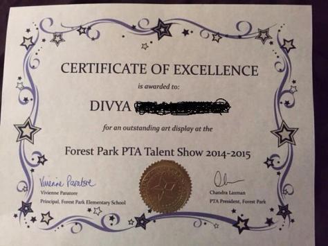 divya certificate